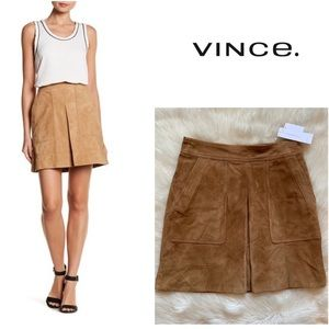 New! VINCE Goat Leather Suede Pleat Skirt